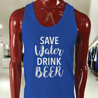 SAVE WATER DRINK BEER DRUNK FUNNY DROUGHT HUMOR Mens Blue Tank Top