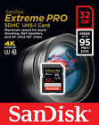 16GB/32GB SanDisk Extreme PRO SD SDHC Card 95MB/s Class 10 UHS-1 U3 4K Memory