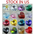 Silver Plate SWAROVSKI ELEMENTS 6228 Heart Pendant Many Colors