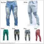 Men's Loose Ripped Denim Straight Jeans Slim Fit Leggings Trousers Casual Pants