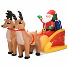 7 Ft Waterproof Inflatable Double Deer w/ Sled Christmas Decoration Outdoor Art