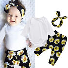3pcs Outfit Infant Baby Girls T-shirt Romper+Pants Leggings+Headband Set Clothes
