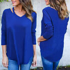 Fashion Women Loose V Neck Pullover T Shirt Long Sleeve Cotton Tops Shirt Blouse