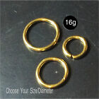 18K GOLD over silver seamless ring,cartilage,nose,lips,16,18,20g,8,10,12 diamete