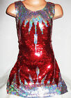 GIRLS 60s STYLE RED SILVER ICICLE PATTERN SEQUIN EVENING DANCE PARTY DRESS