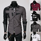 Men's Slim Fit Unique Neckline Stylish Dress Ideal Xmas Long Sleeve Casual Shirt