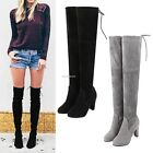New Women Over Knee Boots Shoes Slip-on Block High Heel Lace Up Boots B20E