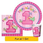 FUN AT ONE BABY GIRL Party Range PINK girl Tableware Balloons Decorations