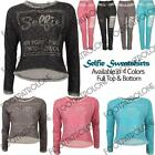 New Womens Girls Ladies SELFIE Top Bottom Jogging Diamante Print Full Tracksuits