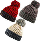 Big Bobble Ribbed Cable  Marl Knit  Turn Up Beanie Hat Ski Pom Pom Cap