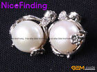 9-10mm Fashion Pearl Rhinestone Earrings Stud Gold Plated Jewelry For Women Gift