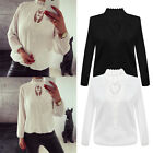 NEW Womens Blouse Lace Band Long Sleeve Ladies Top T Shirt Loose Casual Tops