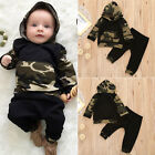 Cute Baby Boys Camouflage Tops Hoodie Long Pants 2Pcs Outfits Set Clothes 0-2T