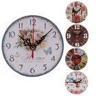 New Rustic Non-Ticking Silent Antique Wood Wall Clock Home Kitchen Office Decor