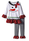 Bonnie Jean Girls Christmas Holiday Frosty Snowman Tunic Pant Outfit 12M 18M 24M