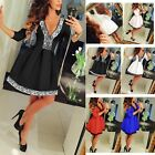 Fashion Women Deep V-Neck Lace Long Sleeve Party Evening Cocktail Mini Dress New
