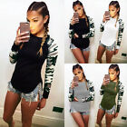Women Camouflage Autumn Casual Sexy Plus Size Long Sleeve Tops Blouse T-shirts
