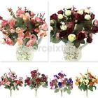 Beautiful 21 Heads Rose Artificial Cloth Flowers Bouquet Party Home Decoration U