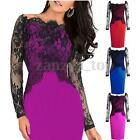 Womens Lace Off Shoulder Pencil Dress Formal Bodycon Long Sleeve Party Dresses