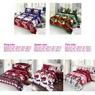 Set of 4 3D Bedding Set Merry Christmas Deep Pocket Bed Sheet 2 Pillowcases S8U5