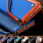 Canvas Diary Leather Wallet Flip Kickstand Card Case Cover For iphone 7 7 plus