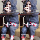 Newborn Baby Boys Girl Check Clothes Set Hooded Jumpsuit Romper Playsuit Outfits