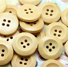 50 pcs Wooden Buttons Natural Color Round 4-Holes Sewing Craft Supplies DIY