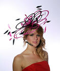 Large Black & Hot Pink Lillypad Saucer Disc Fascinator hat - choose any colours