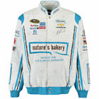 JH Design Danica Patrick White/Blue Nature's Bakery Color Twill Jacket - NASCAR