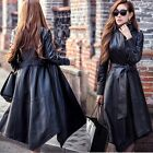 New Fashion Women Synthetic Leather Long Coat Winter Lady Warm Trench Overcoat