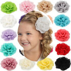 3 Inch Chiffon Flower Hair Clips Rose Flower Hair  Baby Girls Infant Kids