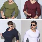 Men's Casual Slim Fit Shirt Long Sleeve Muscle Basic Cotton T-shirt Tee Top Hot