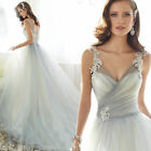 White/Ivory A Line Wedding Dresse V Neck Bridal Gown Custom size2+4+6+8+10+12+