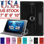 """360° Universal Flip Leather Stand Case Cover For 7"""" 8"""" 9"""" 10"""" Android Tablet PC"""