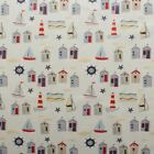 TABLECLOTH PVC VINTAGE SEASIDE BOATS BEACH HUTS WIPE CLEAN OILCLOTH CAFE CRAFTS