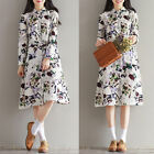 Ladies Autumn Spring Cotton Linen Print Loose Long Sleeve Cardigans Party Dress