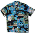 Florida Gold Coast in BLACK vintage RJC aloha shirt made in Hawaii