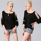Hot Fashion Women Batwing Hollow Out 3/4 Sleeve Shirt Loose Casual Tops Blouse
