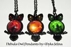 Owl Necklace Nebula Pendant Black Glass Myka Jelina Red Orange Green