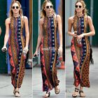 Women Bodycon Floral Print Casual Boho Halterneck Maxi Summer Long Beach Dress