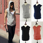 Men's Plus size Stylish Slim Fit Zip Up Sleeveless Hoodie Vest Shirts Top Jacket