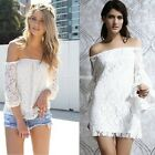 Sexy Women Off Shoulder Cocktail Party Club Floral Lace Mini Dress/blouse top EN