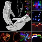 LED Rave 1/5 Pair Magic 7 Mode Flashing Gloves Lights Glow Finger Mitts EN24H