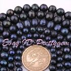 "Natural Freshwater Pearl Black Gemstone Jewelry Making Beads 15"" 5-7,7-9,8-10mm"