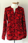 NWT MICHAEL KORS Women's Long Sleeve Split Neck Blouse Coral Reef Red Top $99.50