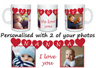 Mothers Day photo gift mug. Nanny or Nanna in hearts with 2 photos