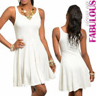 Sexy Sleeveless Skater Dress Knee-Length Party Evening Casual Size 6 8 10 XS S M