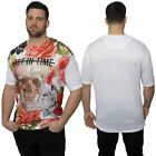 Mens Plus Size T-shirt Skull Rose Print Design Tee Top by Juice Sizes 2XL– 5XL