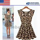 Sweet Girl Leopard Print Women's Cocktail Prom Party Sundress Tunic Mini Dress