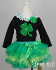 St Patricks Day Girls Green Lime Petal Tutu Shamrock Black Party Dress Outfit